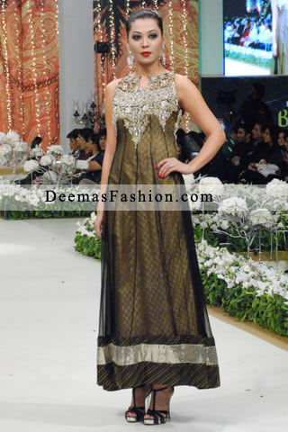Pakistani Designer Collection Black Golden Anarkali Frock