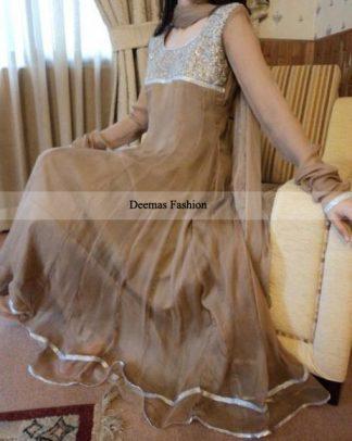 Pakistani Designer Collection Light Brown Anarkali Pishwas
