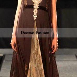 Pakistani Designer Wear Brown Front Open Anarkali Dress