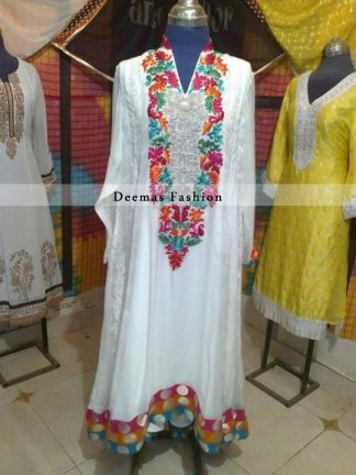 Pakistani Fashion White with Multi Color Embroidery A Line Dress