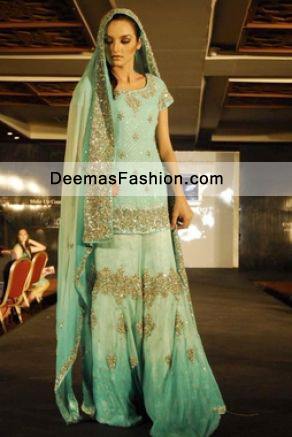 Pakistani Latest Bridal Fashion Sea Green Bridal Wear Sharara