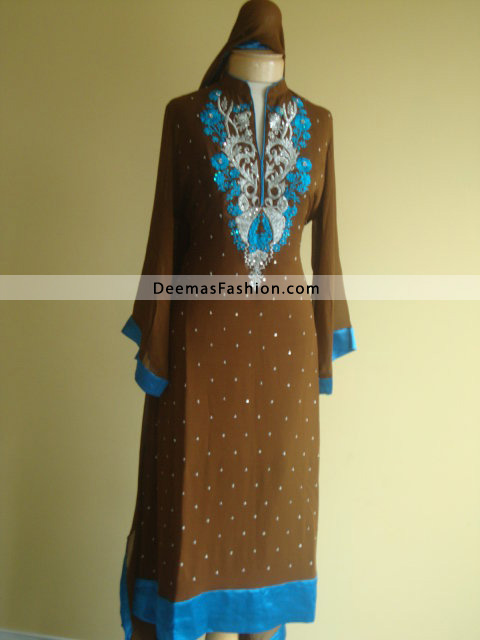 Pakistnai-Casual-Wear-Brown&fFerozi-Embroidered-Dress