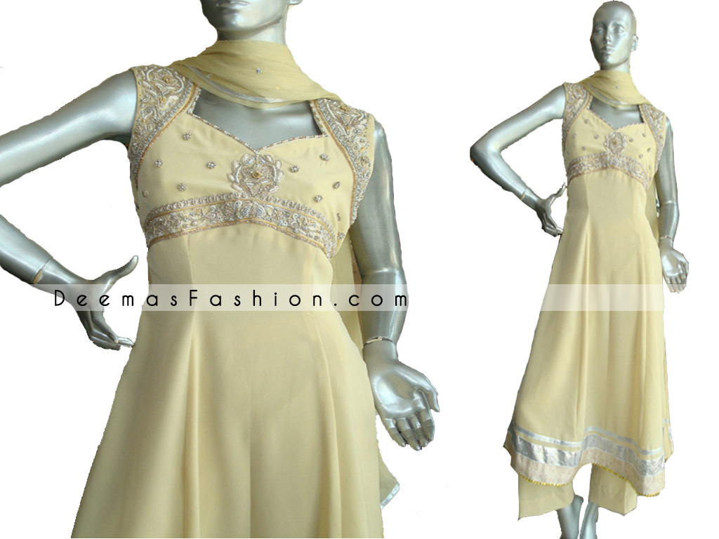 Pakistani Designer Wear - Yellow Anarkali Style Dress