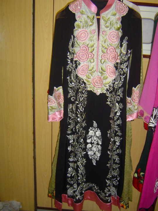 Pakistani Casual Dress – Black White Designer Wear