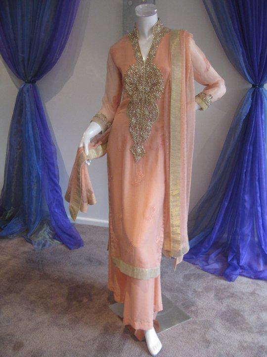Paksitani Casual Dress – Peach Chiffon Designer Wear
