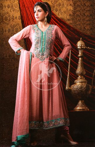Pink Peach Anarkali Frock with Embellished Neckline and Churidar