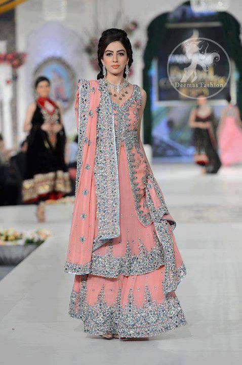 Pinkish Peach Bridal Front Open Shirt with Double Layer Lehnga