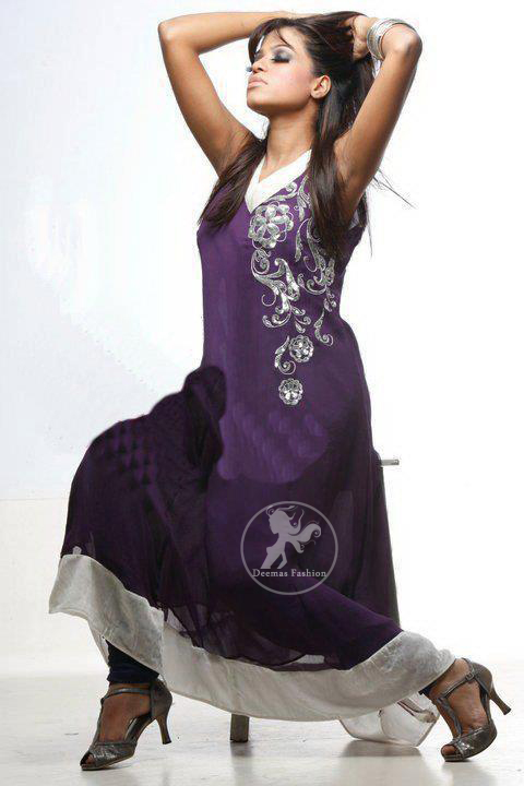 Purple Aline Casual Frock with Silver Border