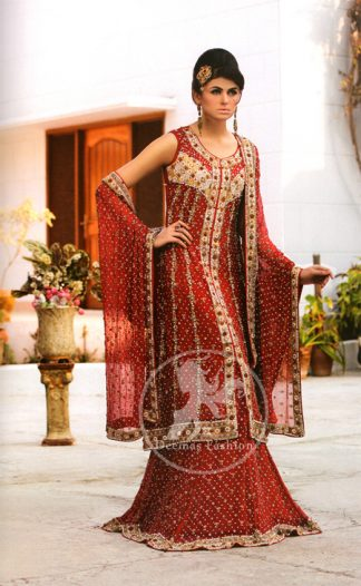 Red Front Open shirt And Lehenga with Embellished Dupatta