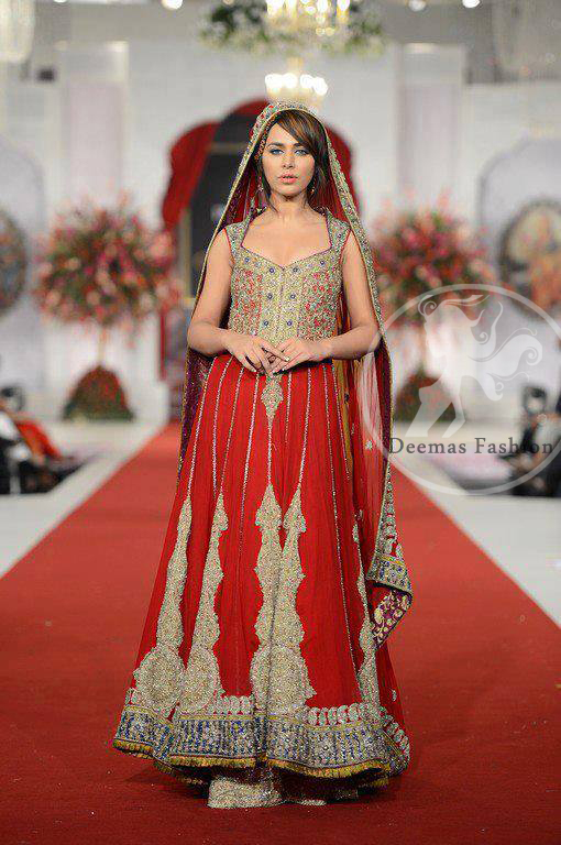 Red Heavy Bridal Anarkali Frock Sharara With Embroidered Dupatta