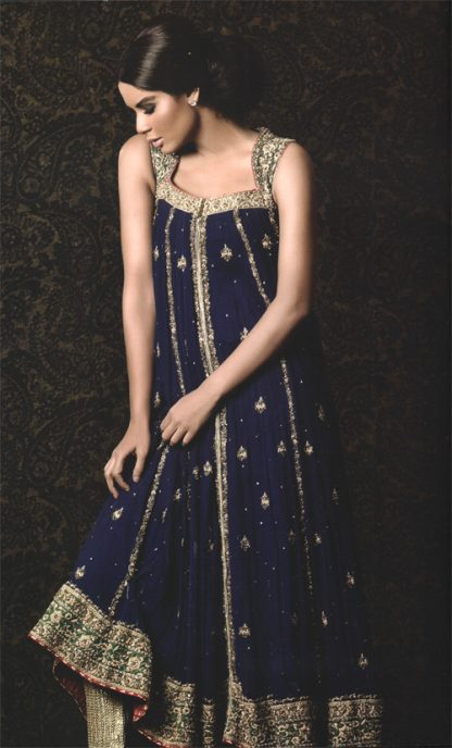 Royal Blue Front Open Party Wear Frock