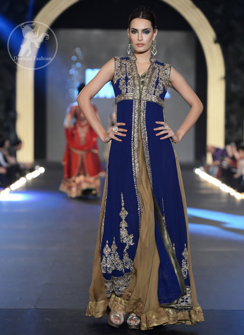 Royal Blue Front Open Shirt & Sharara