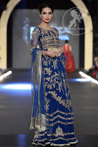 Royal Blue Heavily Embellished Bridal Maxi with Embroidered Dupatta