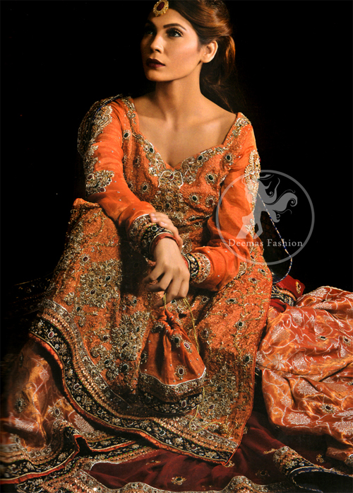 Rust-Orange-Maroon-Long- Shirt-Lehnga