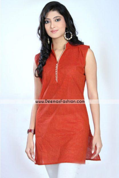 Pakistani Simple Kurta Design – Orange Kurti