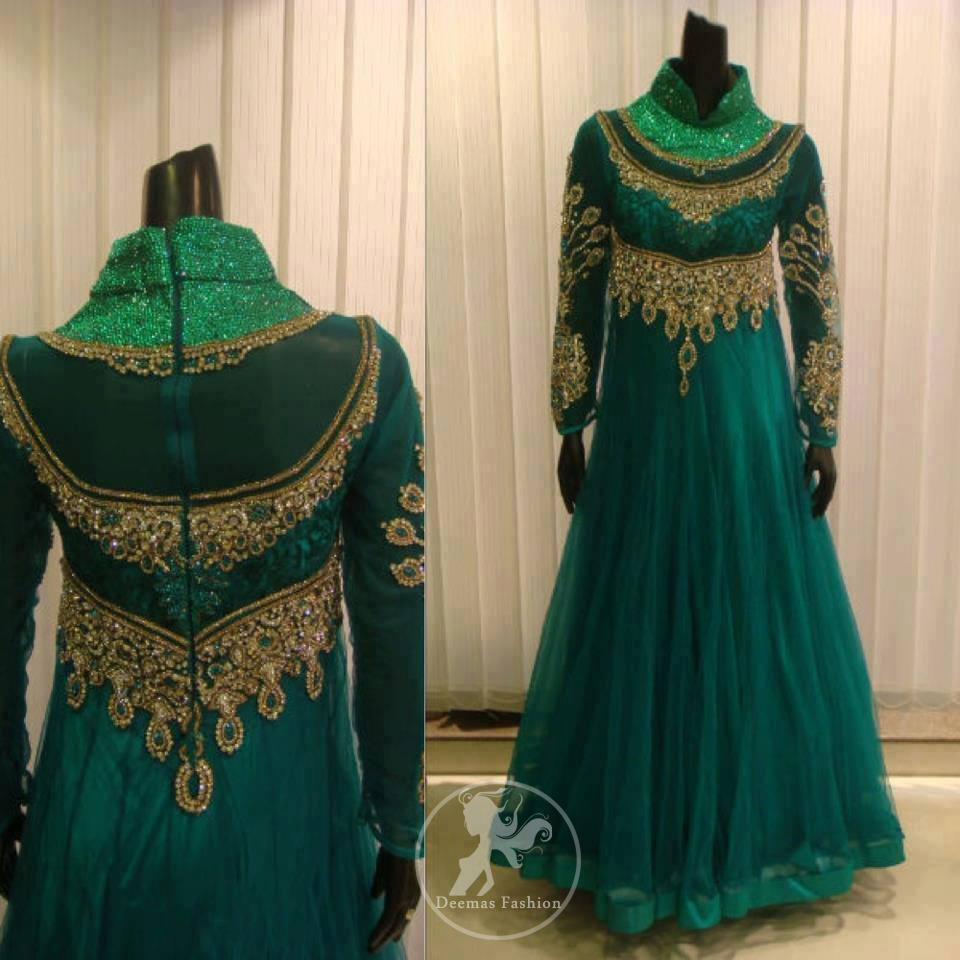 Teal-net-frock-with-front-back-embroidery-on-bodice