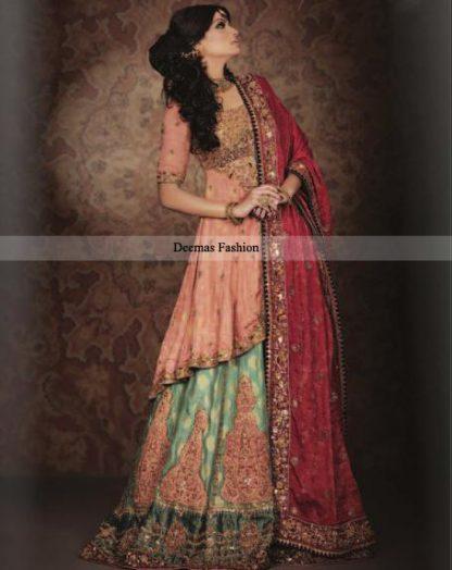 Top Pakistani Designers Bridal Wear 2013 Peach Green Lehnga