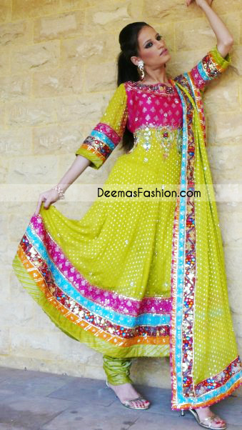 Tradition Pakistani Dress – Green Anarkali Style Frock Churidar