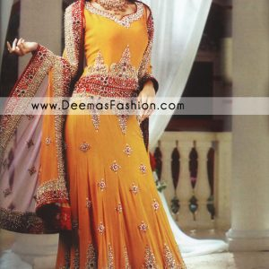 Pakistani Bride Dress Wedding Wear - Golden Yellow Lehnga