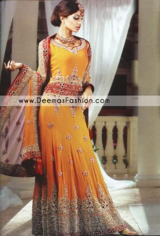 Pakistani Bride Dress Wedding Wear - Golden Yellow Lehnga