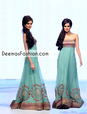 Turquoise Green Gown Style Anarkali