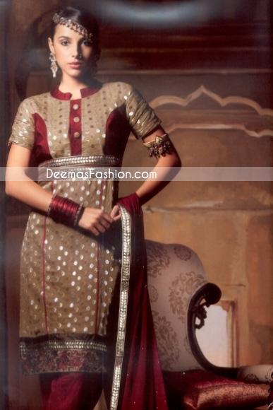 Pakistani Fashion Light Brown - Maroon Embroidered Shalwar Kameez