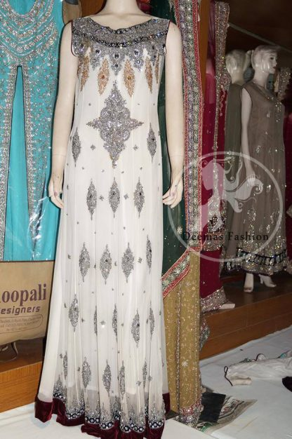 White Fully Embroidered Long Maxi