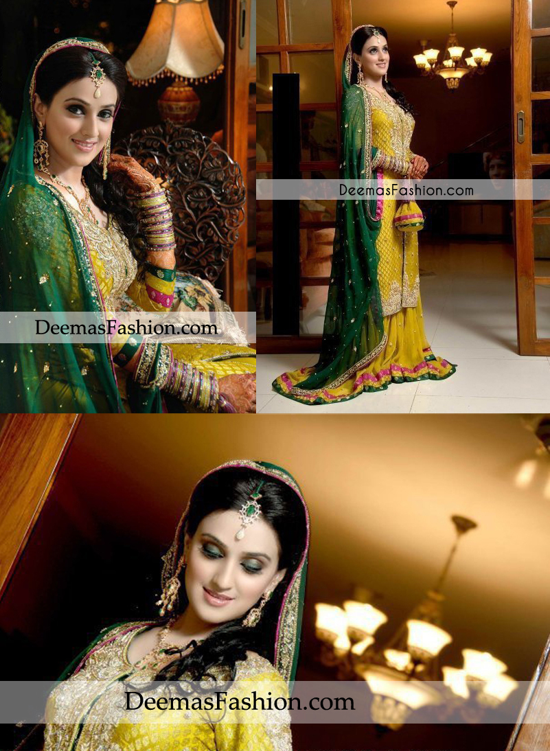 Latest Mehndi Wear Yellow Bottle Green Sharara