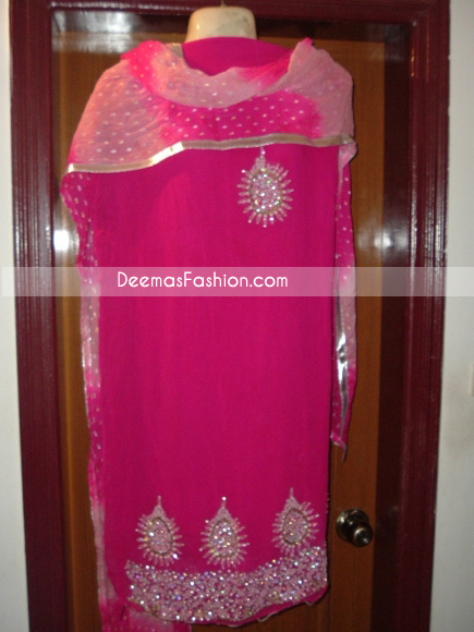 Pakistani Ladies Formal Wear - Shocking Pink Dress