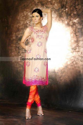Designer Collection- Beige & Pink Chiffon