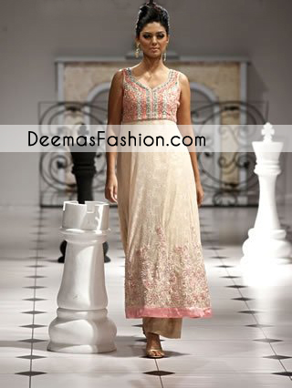 Beige Party Wear Anarkali Pishwas Dress