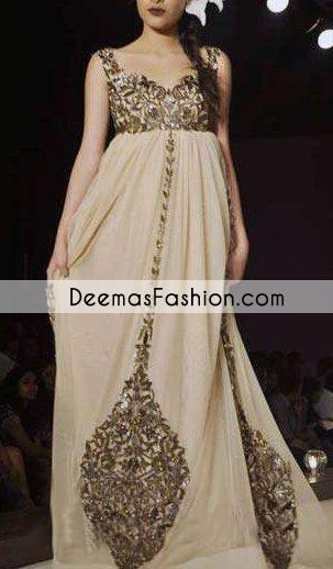 Beige Party Wear Formal Anarkali Pishwas