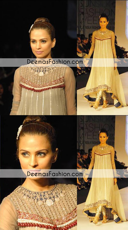 Beige Party Wear Back Tail Anarkali Frock Churidar