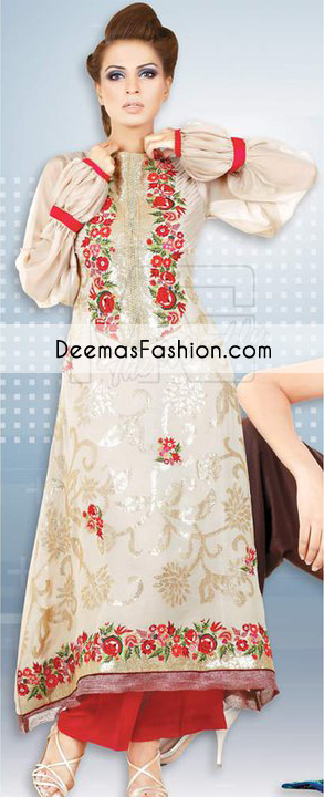 Beige Red Aline Casual Wear Dress