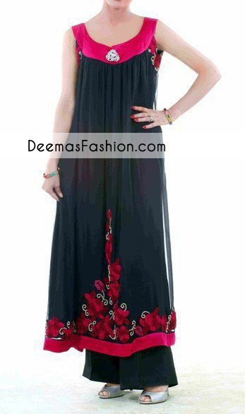 Black A Line Casual Wear Pishwas