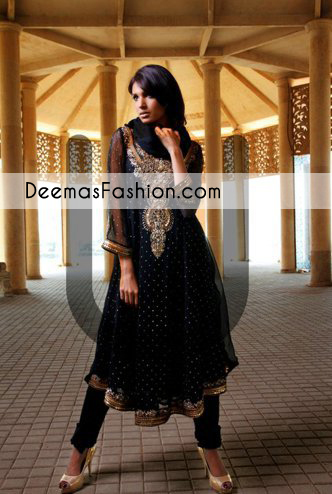 Black Aline Anarkali Frock Churidar