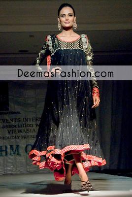 Black Aline Formal Anarkali Pishwas Churidar Dress