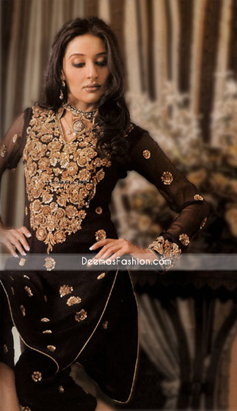 Pakistani Designer Clothes - Black Chiffon