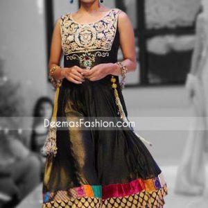 Pakistani Designer Wear Black Chiffon Anarkali Frock