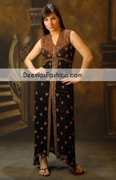Black Party Wear Gown with Antique Embroidery