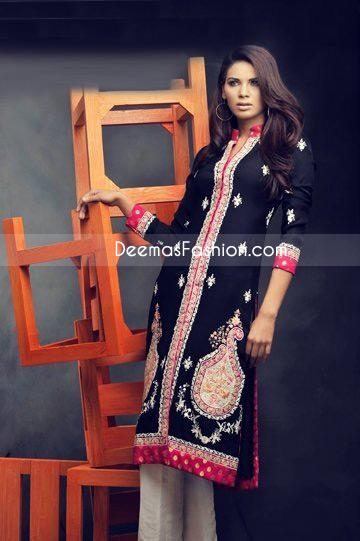 Pakistani Designer Wear Black Red Chiffon Dress