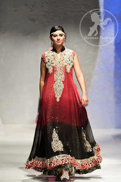 Black Red Double Layer 2 Tone Long Dress