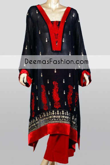 black-red-party-wear-aline-casual-dress1