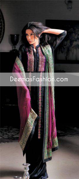 black-shocking-pink-casual-wear-dress1