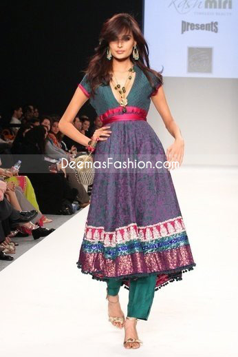 Latest Pakistani Fashion Anarkali Churidar Purple Green