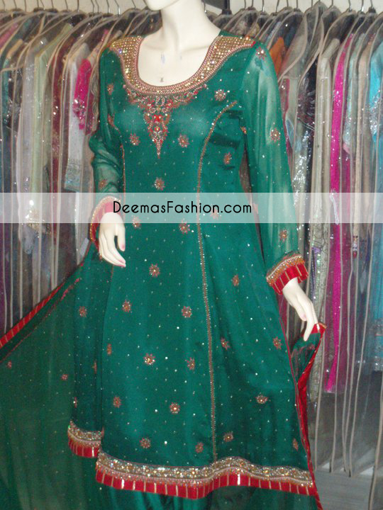 Bottle Green Aline Formal Wear Dress