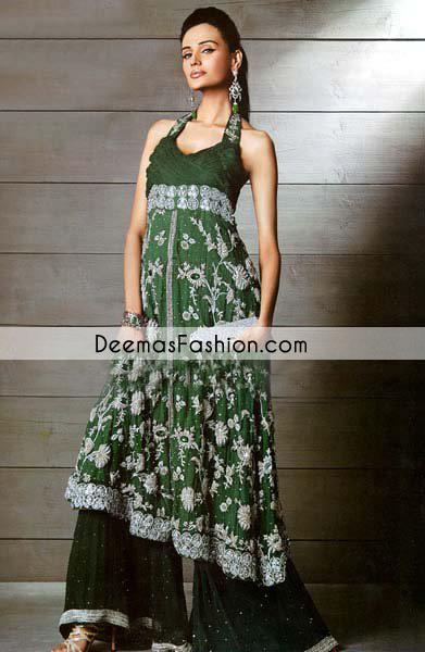 bottle-green-aline-frock-flapper-party-wear-dress1