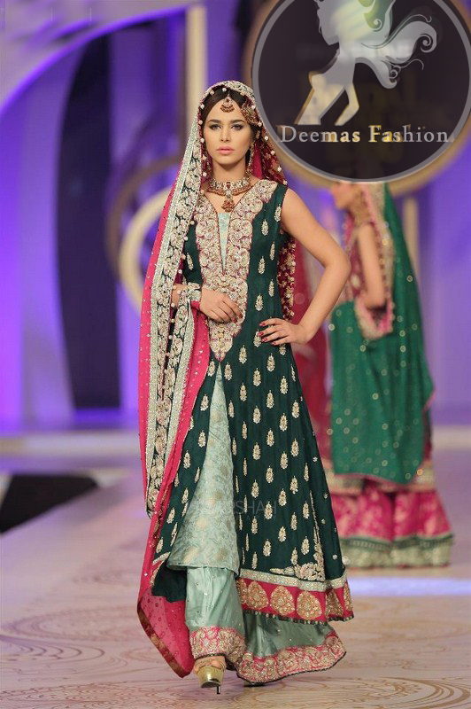 Bottle Green and Hot Pink Double Layer Shirt with Sharara