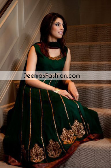 Bottle Green Casual Wear Anarkali Pishwas Churidar Dress