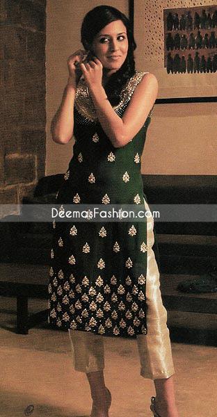 Pakistani Boutique Dress Bottle Green Golden Raw Silk